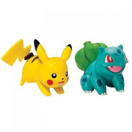 Pack de 2 figurines Pokémon : Bulbizarre vs Pikachu